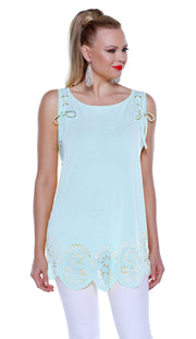 Flowy Pullover Tank with Laser Cutouts and Laced Shoulders SEA MIST