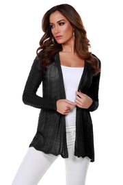 Lightweight Open-Front Swing Cardigan with Stitch Detail BLACK