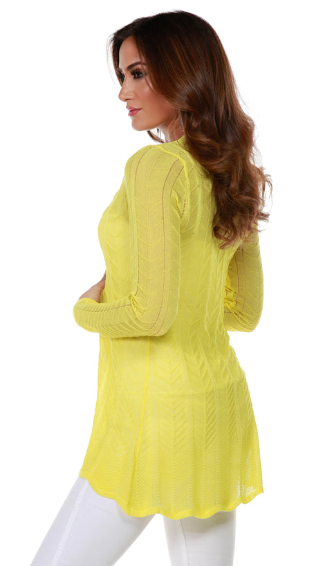 Lightweight Open-Front Swing Cardigan with Stitch Detail CANARY