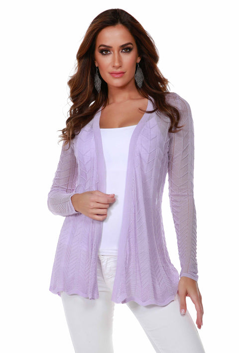 Lightweight Open-Front Swing Cardigan with Stitch Detail SPRING ORCHID