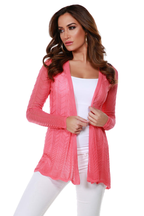 Lightweight Open-Front Swing Cardigan with Stitch Detail TERRACOTTA