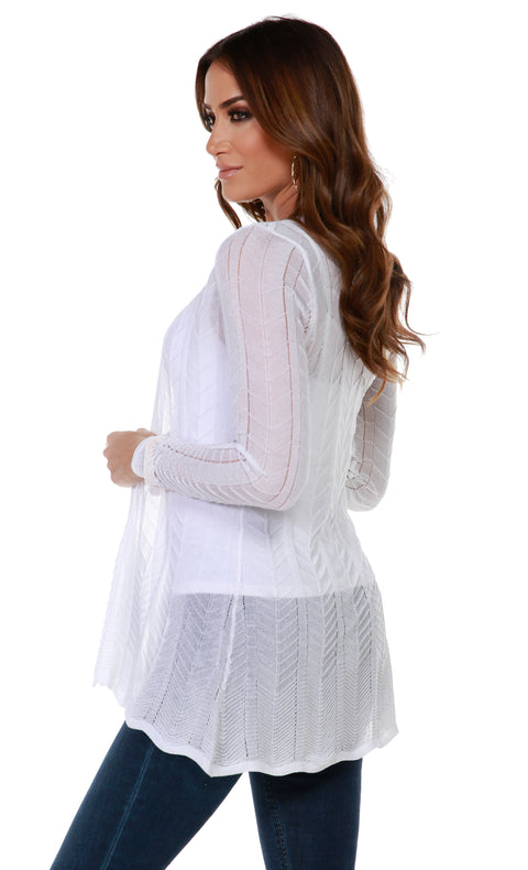 Lightweight Open-Front Swing Cardigan with Stitch Detail WHITE