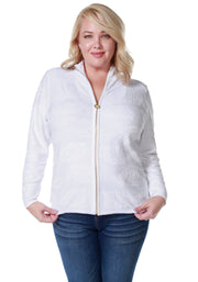 Long Sleeve Mock-Neck Zip Cardigan - Plus Size WHITE