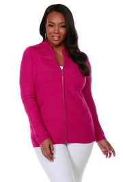 Long Sleeve Mock-Neck Zip Cardigan - Plus Size LIPSTICK