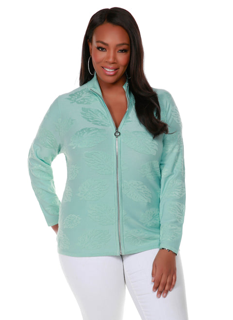Long Sleeve Mock-Neck Zip Cardigan - Plus Size SALTWATER