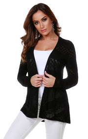 Long Sleeve Open-Front Swing Cardigan with Multi-Stitch Detail BLACK
