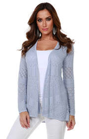 Long Sleeve Open-Front Swing Cardigan with Multi-Stitch Detail BLUE AHZE