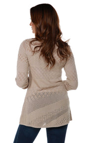 Long Sleeve Open-Front Swing Cardigan with Multi-Stitch Detail FLAX