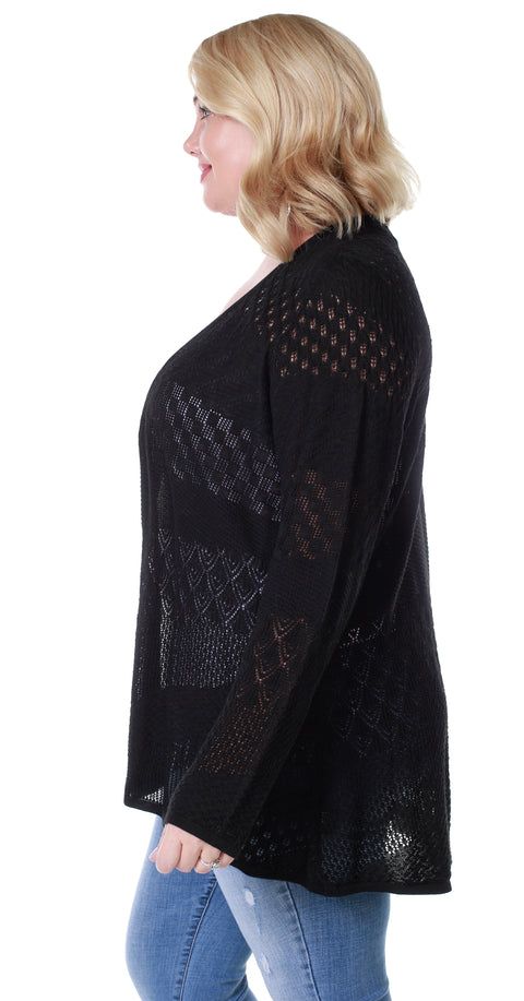 Long Sleeve Open-Front Swing Cardigan with Multi-Stitch Detail - Plus Size BLACK