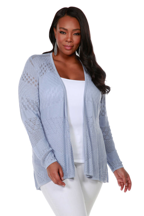 Long Sleeve Open-Front Swing Cardigan with Multi-Stitch Detail - Plus Size BLUE HAZE