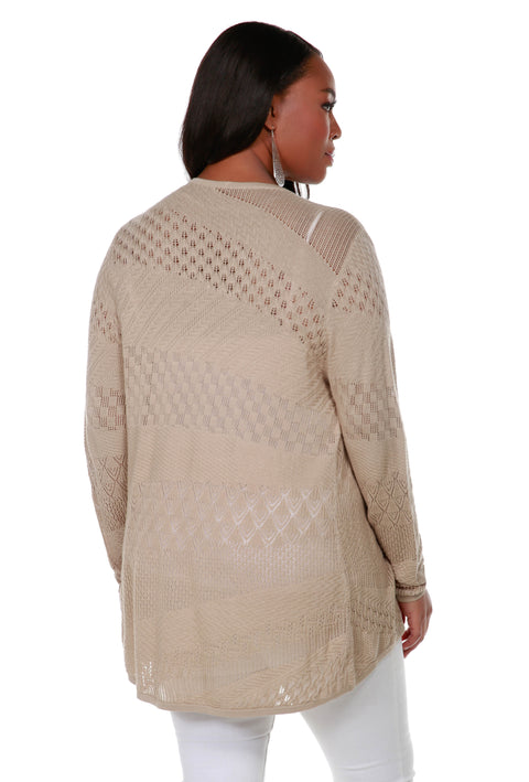 Long Sleeve Open-Front Swing Cardigan with Multi-Stitch Detail - Plus Size FLAX