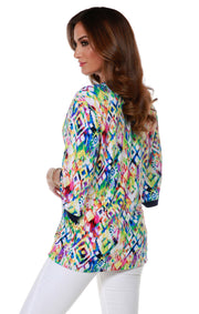 Long Sleeve Printed Kimono Cardigan  KALEIDOSCOPE NAVY