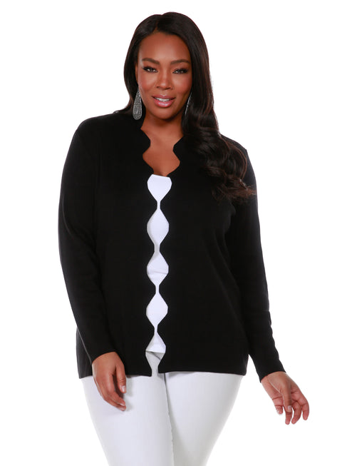 Long Sleeve Scalloped Edge Open Front Cardigan - Plus Size BLACK