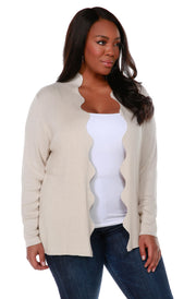 Long Sleeve Scalloped Edge Open Front Cardigan - Plus Size HEATHER OATMEAL