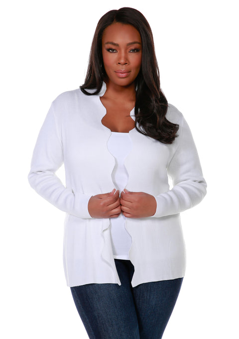 Long Sleeve Scalloped Edge Open Front Cardigan - Plus Size WHITE