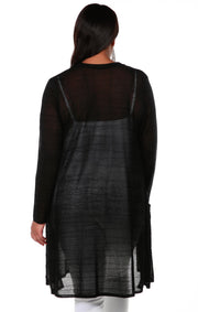 Open Front Cardigan with All-Over Stitch Detail and Front Pockets - Plus Size BLACK