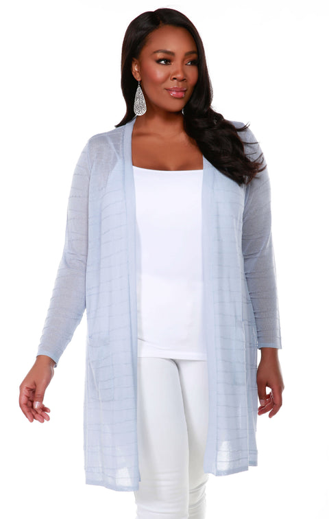 Open Front Cardigan with All-Over Stitch Detail and Front Pockets - Plus Size BLUE HAZE