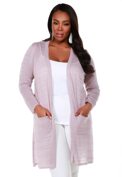 Open Front Cardigan with All-Over Stitch Detail and Front Pockets - Plus Size PALE LILAC
