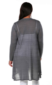 Open Front Cardigan with All-Over Stitch Detail and Front Pockets - Plus Size SLATE GREY