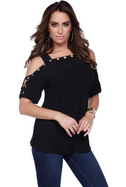 Short Sleeve Top with Gold Rhinestone Grommet Trim and Lace-Up Sleeve Detail BLACK
