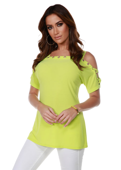 Short Sleeve Top with Gold Rhinestone Grommet Trim and Lace-Up Sleeve Detail KEY LIME