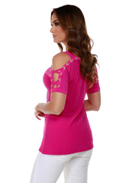 Short Sleeve Top with Gold Rhinestone Grommet Trim and Lace-Up Sleeve Detail LIPSTICK