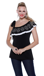 Sleeveless Ruffle Top with Laser Cut and Rhinestone Detail with Ruffle Underlay BLACK WHITE