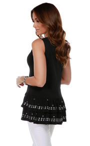 Sleeveless Tunic with Silver Grommet and Heatseal Trim on Peplum BLACK
