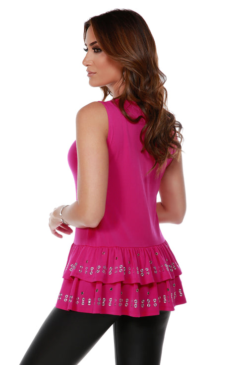 Sleeveless Tunic with Silver Grommet and Heatseal Trim on Peplum LIPSTICK