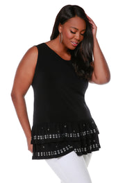 Sleeveless Tunic with Silver Grommet and Heatseal Trim on Peplum - Plus Size BLACK