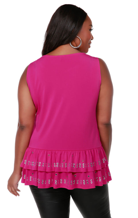 Sleeveless Tunic with Silver Grommet and Heatseal Trim on Peplum - Plus Size LIPSTICK