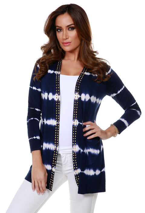 Stripe Tie-Dye Open Front Cardigan with Stud Trim on Placket NAVY GOLD