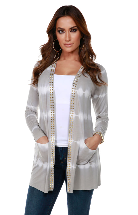 Stripe Tie-Dye Open Front Cardigan with Stud Trim on Placket PEARL GREY GOLD