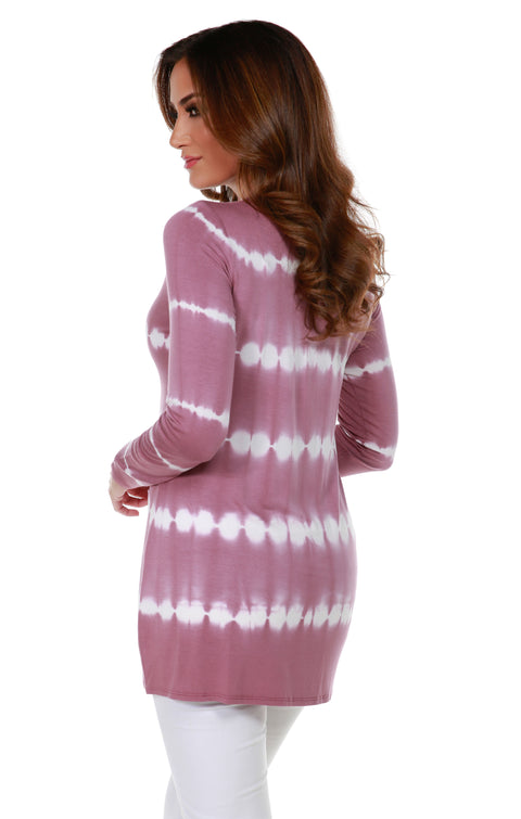 Stripe Tie-Dye Open Front Cardigan with Stud Trim on Placket VELVET MAUVE SILVER
