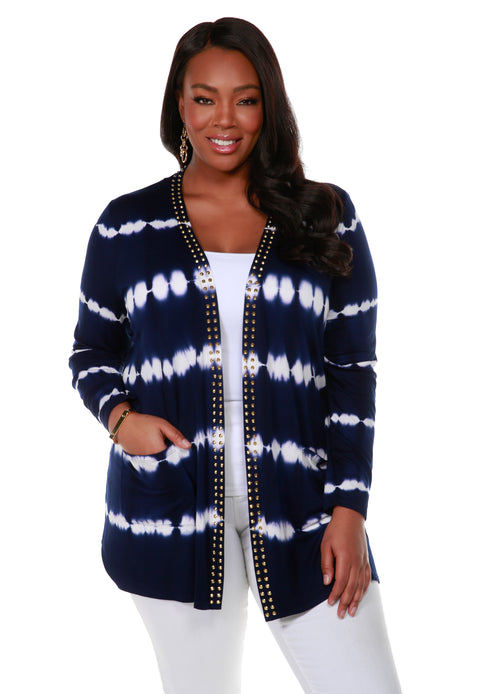 Stripe Tie-Dye Open Front Cardiganwith Stud Trim on Placket - Plus Size NAVY