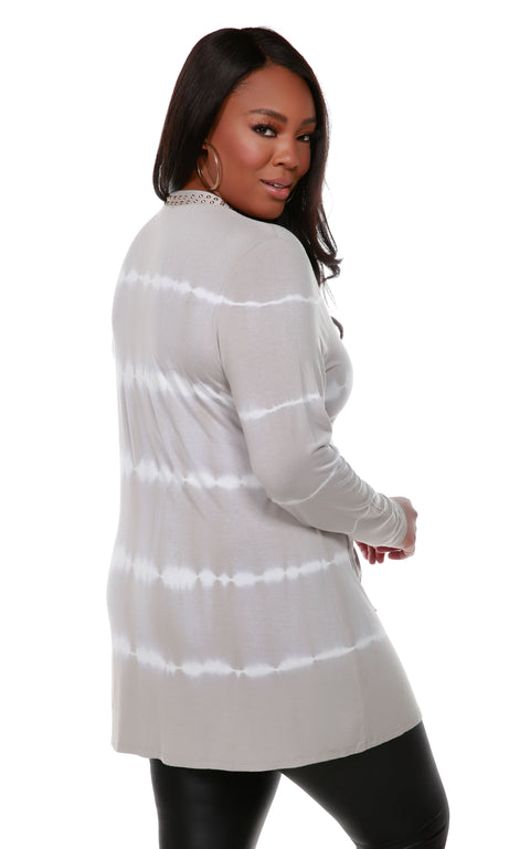 Stripe Tie-Dye Open Front Cardiganwith Stud Trim on Placket - Plus Size PEARL GREY