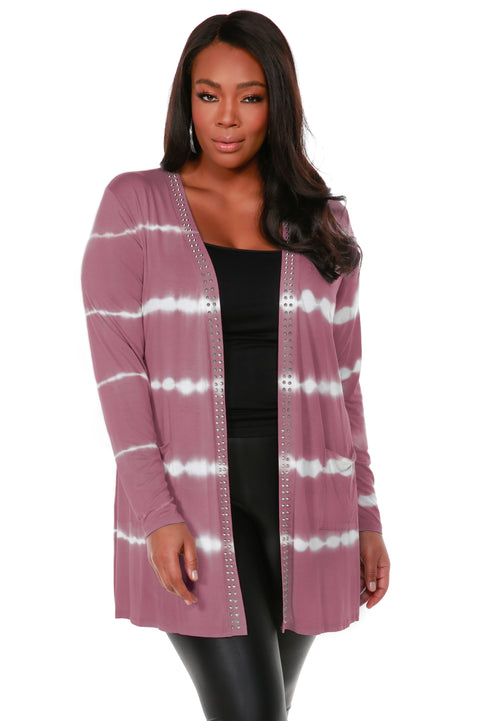 Stripe Tie-Dye Open Front Cardiganwith Stud Trim on Placket - Plus Size VELVET MAUVE
