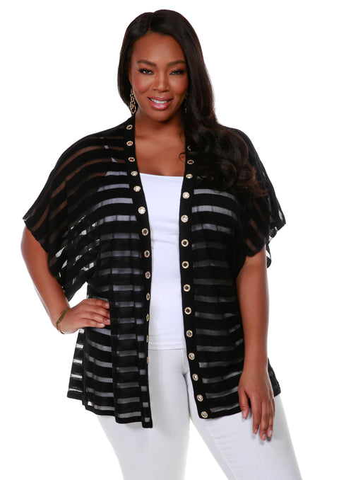 Kimono Sleeve Open Front Shadow Stripe Cardigan with Rhinestone Grommet Trim on Placket - Plus Size BLACK