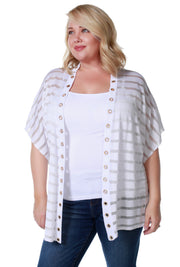 Kimono Sleeve Open Front Shadow Stripe Cardigan with Rhinestone Grommet Trim on Placket - Plus Size WHITE