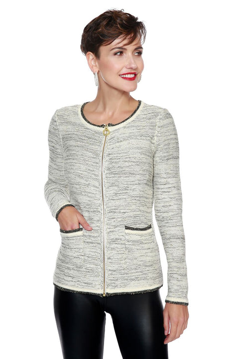 Zip Cardigan with Metallic Details & Front Pockets