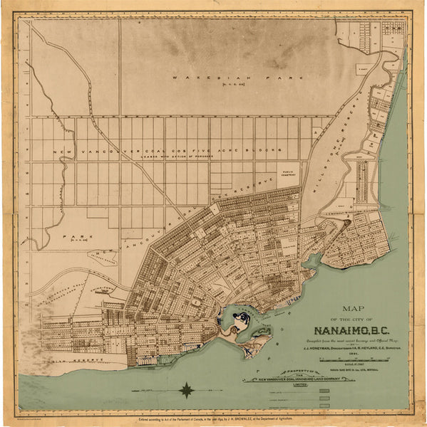 Nanaimo Map 1891 Skookum Prints