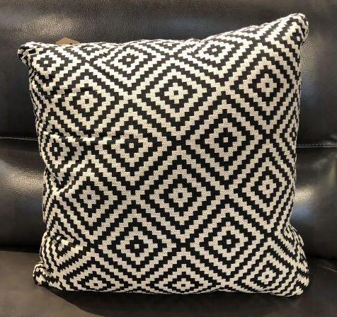 Black Rhombus Tiles Fabric Toss Pillow