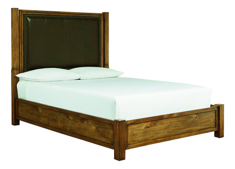 Woodhaven Leather Panel Bed - Jordans Home