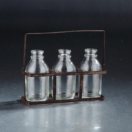 Set of 3 Glass Bottles - Jordans Home