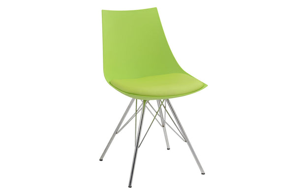 Green Dining Chair - Chrome Base