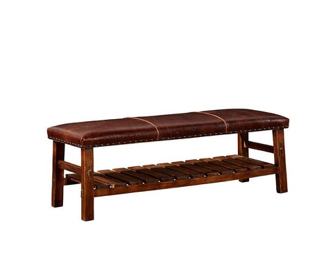 Leather Powell Bench - Jordans Home