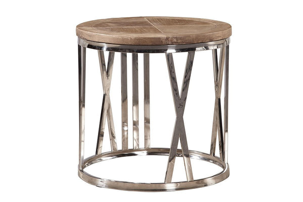 Round Stainless Steel End Table - Jordans Home