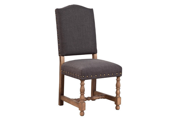 Linen Madrid Chair with Nailheads - Dark  | Dining Chair, Chair | Jordans Home