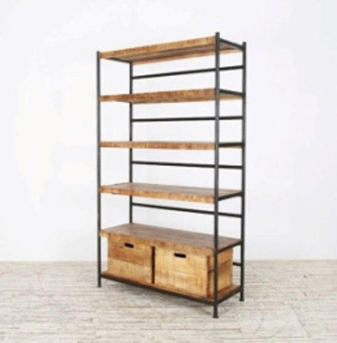 Iron Wooden Bookcase - Jordans Home