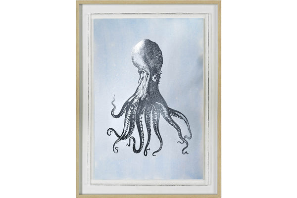 Silver Foil Octopus I on Blue Wash Artwork  | Framed Art | Jordans Home